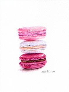 "Laduree Macarons #2 - ORIGINAL Painting (Dessert Illustration, Still Life, Watercolour Food Wall Art) 6x8"""