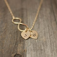 I know bronze is traditional fir the yr anniversary, but i like this in gold too. Cute with couples initials. Items similar to Gold Infinity Necklace - Personalized Jewelry . Gold Monogram Necklace on Etsy, a g. I Love Jewelry, Gold Jewelry, Jewelery, Jewelry Accessories, Jewelry Design, Etsy Jewelry, Infinity Jewelry, Infinity Necklace, Initial Necklace Gold