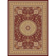 Concord Global�Cyrus Rectangular Red Floral Woven Area Rug (Common: 5-ft x 7-ft; Actual: 5.25-ft x 7.25-ft)