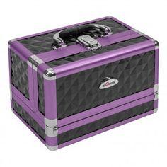 Schminkkoffer Schmuckkästchen Kosmetikkoffer Beautycase 7 Fächer 8 Liter Kunstleder  | Schwarz mit violetten Rahmen