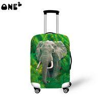Travel Luggage Cover Suitcase Protector Fits 22-24 inch Luggage Elephant Flamingo Art
