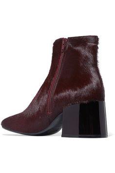 MM6 Maison Margiela - Calf Hair Ankle Boots - Burgundy - IT35.5