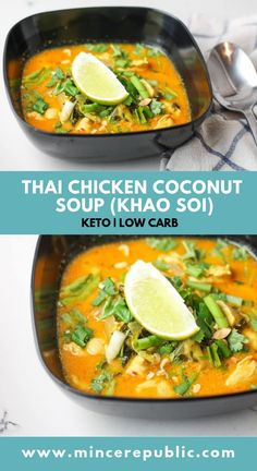 Thai Chicken Coconut Soup Recipe | #lowcarb and #keto friendly Thai soup | mincerepublic.com