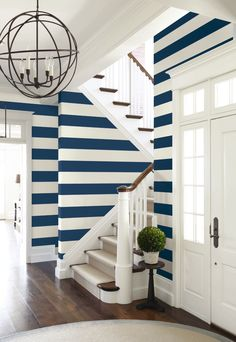 Large Stripe shown in Navy. Can be hung vertcally or horizontally. Yacht Club Collection from Wallquest