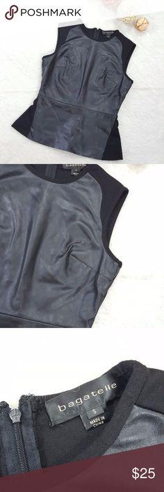"""Bagatelle Sleeveless Black Faux Leather Peplum Top Bagatelle faux leather peplum top size small length 22"""" chest 17"""" waist 14"""" back zipper opening Bagatelle Tops Blouses"""