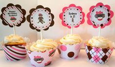 Personalized Girl Sock Monkey Cupcake Kit for Girl Birthday Party Girl Baby Shower in Pink and Brown Monkey First Birthday, Baby Girl Birthday, First Birthday Parties, 2nd Birthday, First Birthdays, Birthday Ideas, Sock Monkey Cupcakes, Sock Monkey Party, Monkey Baby