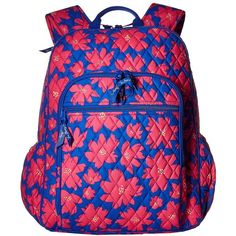 Vera Bradley Campus Tech Backpack (Art Poppies) Backpack Bags ($108) ❤ liked on Polyvore featuring bags, backpacks, zip handle bags, vera bradley backpack, blue backpack, day pack backpack and handle bag