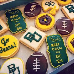 Awesome Baylor football cookies! If you're not much of a baker, tons of bakeries can make these for you.
