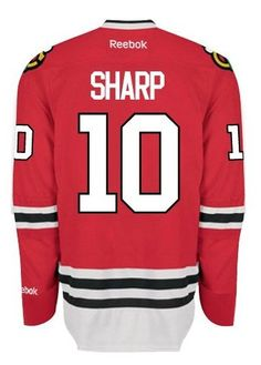 Chicago Blackhawks Mens Patrick Sharp Premier Home Jersey with AUTHENTIC TACKLE-TWILL LETTERING