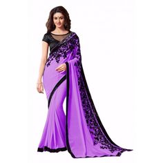 Violet  Flower Bollywood Saree_00