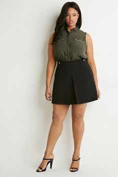 Plus Size Pleat-Front Pocket Skirt