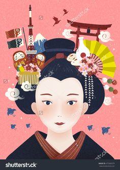 Japanese beautiful geisha, landmarks and hair accessories on her head
