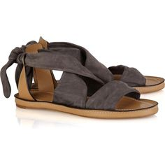 Chloé Suede wrap sandals ($130) ❤ liked on Polyvore featuring shoes, sandals, flats, обувь, sapato, real leather shoes, round cap, round toe shoes, flats sandals and leather shoes