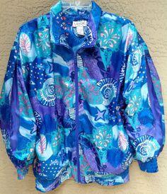 Vtg 80s Seapunk Nautilus Aqua Turquoise Zipper Jacket Silky Track Suit Nautilus Shells Slouchy Oversized Medium