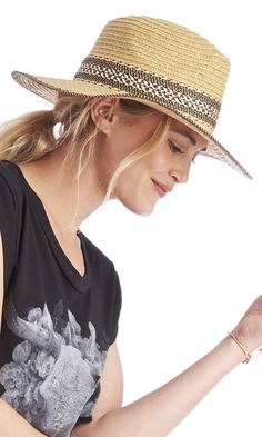 Woven panama hat with a woven band, perfect for festival and beach season