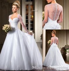 Wholesale - Covered Botton Bling 2014 Sheer Sequin Wedding Dresses Sexy Backless Cheap Vintage Tulle Dress Bridal Ball Gowns Long Sleeve Train