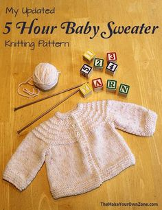 Baby Knitting Patterns Newborn Knit a 5 Hour Baby Sweater with this free knitting pattern Baby Knitting Free, Knitting For Kids, Easy Knitting, Baby Cardigan Knitting Pattern Free, Knitting Yarn, Baby Knitting Patterns Free Cardigan, Knitting Tutorials, Knitted Baby Cardigan, Knit Baby Sweaters
