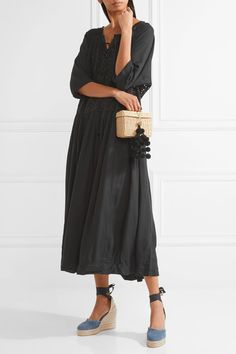 HATCH - Romy Voile And Broderie Anglaise Midi Dress - Black