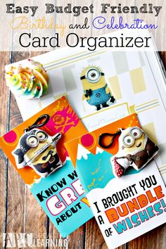 Keep your birthday cards and special occasion cards organized with this Easy Budget Friendly Birthday and Celebration Card Organizer! Plus pick up the Minions Birthday Cards exclusively at Walmart!- abccreativelearning.com #SendSmiles #Cbias #ad