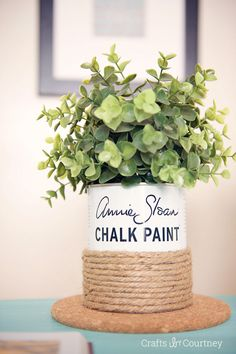 A creative way to upcycle an empty can of Chalk Paint® decorative paint by Annie Sloan into a decorative rope vase | By Crafts by Courtney