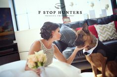 Beautiful bride & her German Shepherd