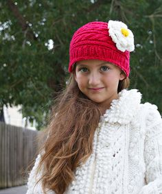 Another great find on #zulily! Red & Flower Gloria Cable-Knit Wool Beanie by Little Cotton Dress #zulilyfinds