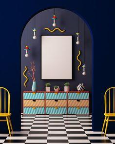 """Memphis war eine Design-Gruppe, die 1981 von Ettore Sottsass gemeinsam mit Architekten und Gestaltern in Mailand gegründet wurde. Der Name stammt aus einem Song von Bob Dylan: """"Stuck Inside of Mobile with the Memphis Blues Again"""" lief während des Gründungstreffens in Dauerschleife.Memphis-Design war die Antwort auf die funktionale Formensprache der Modernisten und den Minimalismus der Siebzigerjahre. Memphis Design, Memphis Art, Memphis Milano, Piet Mondrian, 80s Interior Design, Bob Dylan, 1980s Design, Living Room Decor Colors, Memphis Pattern"""
