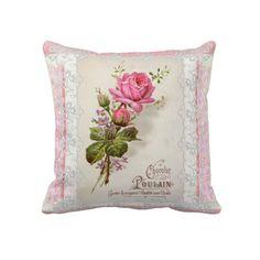 Chocolat Poulain Vintage Lace #pink #vintage #cushion_pillow