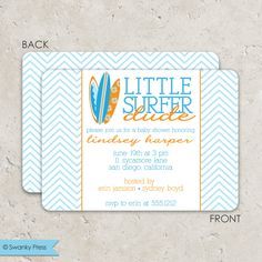 """surf board baby shower . sip and see invitation chevron  """"little surfer dude"""". $45.00, via Etsy."""