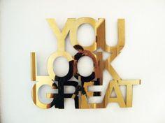 You Look Great… in Gold  Brass chromed aluminum panel by Jade Rude.  (via design-milk.com)
