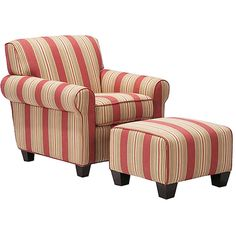 Portfolio Mira 8-way Hand-tied Crimson Red Stripe Arm Chair and Ottoman - Overstock™ Shopping - Great Deals on PORTFOLIO Living Room Chairs
