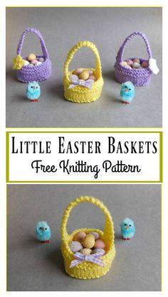 Sweet Little Easter Baskets Free Knitting Pattern #Freepattern #Knitting