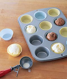 Ice cream scooped in advance...what a great idea! such a time saver for birthday parties- scoop the ice cream into lined cupcake pans & put them in the freezer. then just pull them out when you cut the cake & serve!