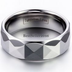 Herren Wolframcarbid Ring Facettiert Partnerring Ehering Trauring 8mm breit