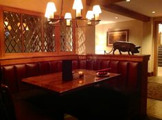 Warm and cozy bar booth at Tria Restaurant
