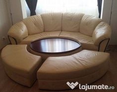 Canapea colțar piele crem + inserții din lemn masiv Ottoman, Chair, Furniture, Home Decor, Recliner, Home Furnishings, Stool, Interior Design, Home Interiors