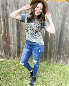 Feeling these fall vibes! This leopard pumpkin tee, distressed jeans and comfy black booties make me happy!