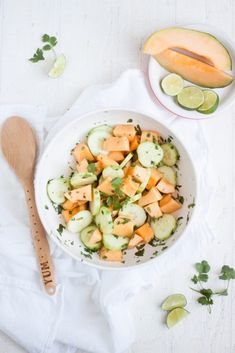 CUCUMBER MELON SUMMER SALAD served in Fiesta® Dinnerware Bistro Bowl | Oh So Delicioso