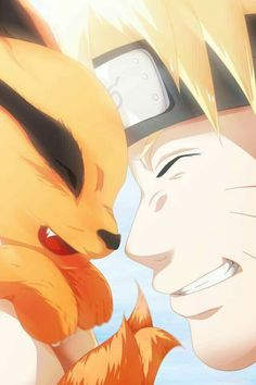 AWWWWWWWWW IM DYING THIS IS SO CUTEEEE NARUTO AND KURAMAAA