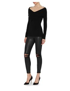 Exclusive for Intermix Off The Shoulder Cross Front Ribbed Knit