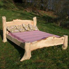 rustic oak driftwood bed