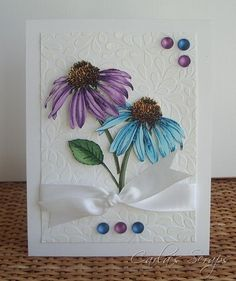 Doing something similar with my stylized daisy stamps. Card Making Inspiration, Making Ideas, Embossed Cards, Copics, Love Cards, Card Tags, Paper Cards, Greeting Cards Handmade, Scrapbook Cards