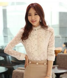 2014 spring ol elegant lace beading basic shirt slim stand collar long-sleeve shirt female B011 $18.90