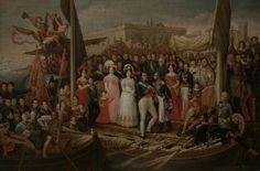 Escena histórica que representa el desembarco de Fernando VII y la familia real en el puerto de Santa María de Cádiz el 1 de octubre de 1823. Tras la intervención de la Santa Alianza con los Cien Mil Hijos de San Luis de la guardia francesa que procuró la restauración del absolutismo en España, Fernando VII es trasladado a Cádiz, para asegurar su seguridad, esto supuso el fin del Trienio liberal (1820-1823) y el inicio de la Década Ominosa (1823-1833) periodo de máximo absolutismo de su…