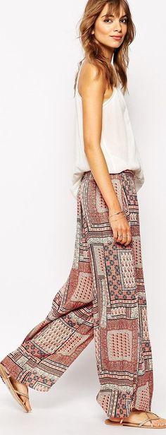 cute patchwork tile print pajama pants - http://www.boomerinas.com/2015/05/14/moroccan-tile-print-maxi-dresses-tunics-for-women-over-40-50-60/
