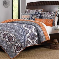 Amazon.com: Boho Chic Moroccan Paisley Pattern Grey Orange Cotton 3 Piece King…
