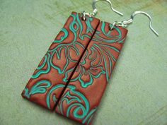 Polymer Clay Jewelry Long Dangle Copper Earrings by PolymerPlayin