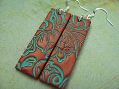 Polymer Clay Jewelry Long Dangle Copper Earrings by PolymerPlayin