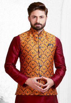 Product Features: Color: Orange Fabric: Brocade Chest Loosing: 4 Inch Occasion: Festive Wear Product Type: Stitched Jacket Product Weight: Kg Disclaimer: It is Made to order/Custom made products and cannot be exchanged or returned. Red Kurta, Kurta Men, Wedding Dress Men, Nehru Jackets, Business Casual Men, Orange Fabric, Blue Coats, Weaving Art, How To Dye Fabric