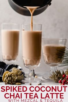 an easy spiked chai tea recipe! coconut chai tea, lightly sweetened with maple syrup & spiked with mezcal & tequila. Tea Cocktails, Winter Cocktails, Cocktail Recipes, Craft Cocktails, Tea Recipes, Holiday Recipes, Dessert Recipes, Cooking Recipes, Desserts